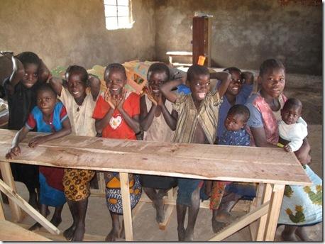 kids testing out desks